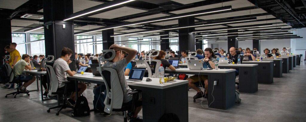 a big team in an open office